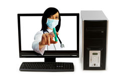 Doctor from computer screen Stock Photos