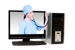 Doctor from computer screen Royalty Free Stock Photos