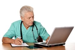 Doctor with computer Stock Photo