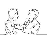 Doctor con el hombre del paciente de la invitación del estetoscopio ilustración del vector