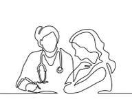 Doctor con la mujer del paciente de la invitación del estetoscopio ilustración del vector