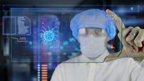 Doctor con la tableta futurista de la pantalla del hud Bacterias, virus, microbio stock de ilustración