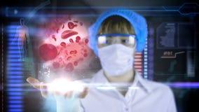 Doctor con la tableta futurista de la pantalla del hud Glóbulo rojo, eritrocite Concepto médico del futuro ilustración del vector