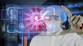 Doctor con la tableta futurista de la pantalla del hud Neuronas, impulsos del cerebro Concepto médico del futuro ilustración del vector
