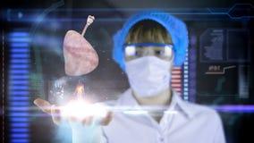 Doctor con la tableta futurista de la pantalla del hud pulmones, bronquios Concepto médico del futuro ilustración del vector
