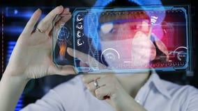 Doctor con la tableta futurista de la pantalla del hud pulmones, bronquios Concepto médico del futuro stock de ilustración