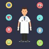 Doctor con los iconos médicos coloridos Fotografía de archivo libre de regalías