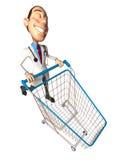 Doctor con un carro de compras Fotografía de archivo libre de regalías