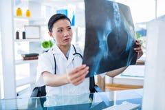 Doctor concentrado que analiza radiografías Foto de archivo libre de regalías