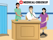 Doctor Conducting Medical Camp. Doctor treating a patient in his annual medical camp stock illustration