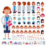 Doctor constructor vector construction of female medical character head and face emotions illustration set of hospital. Person body with hands legs creation Royalty Free Stock Photos