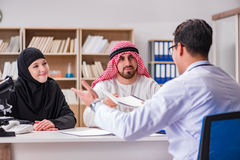 The doctor consulting arab family at hospital. Doctor consulting arab family at hospital Royalty Free Stock Images