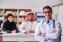 The doctor consulting arab family at hospital Royalty Free Stock Photography