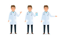 Doctor, consultsing, serves, works with documents, shows gestures of result. Stock Photo
