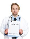 Doctor with contract Royalty Free Stock Photography