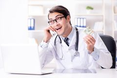 The doctor in corruption concept with being offered bribe. Doctor in corruption concept with being offered bribe Stock Images