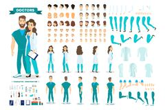 Doctor couple character set for the animation. With various views, hairstyle, emotion, pose and gesture. Medical equipment. Male surgeon and female worker royalty free illustration