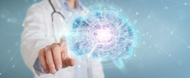 Doctor creating artificial intelligence interface 3D rendering. Doctor on blurred background creating artificial intelligence interface 3D rendering royalty free illustration