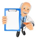 doctor 3D con el tablero en blanco y una pluma Fotografía de archivo