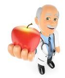 doctor 3D con una manzana roja Concepto sano del alimento Imagenes de archivo