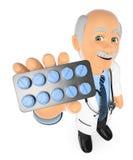 doctor 3D con una tableta de las píldoras medicinas Fotos de archivo