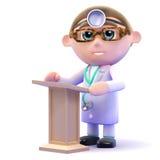 doctor 3d en el atril Foto de archivo libre de regalías