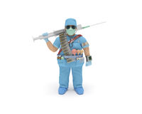 Doctor. (3d man) in full medical gear is ready to delivery of health care and fight with an illness Royalty Free Stock Photos