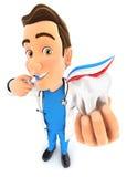 doctor 3d que cepilla sus dientes y que sostiene el diente Fotografía de archivo libre de regalías