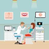 Doctor de garganta de nariz de oído médico del otorrinolaringólogo para la garganta dolorida Imágenes de archivo libres de regalías