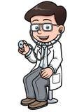 Doctor de la historieta con el estetoscopio Imagen de archivo