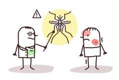 Doctor de la historieta con el hombre y el mosquito enfermos de la dengue Fotos de archivo libres de regalías
