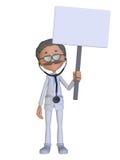 Doctor de la historieta con una muestra en blanco Fotos de archivo