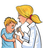 Doctor de la historieta que da a niño una vacunación Fotos de archivo libres de regalías