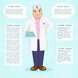 Doctor de la imagen que sostiene píldoras Información paciente Vector Stock de ilustración