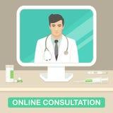 Doctor de la medicina, consulta médica en línea, servicio de la atención sanitaria Fotografía de archivo libre de regalías