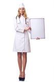 Doctor de la mujer con la tarjeta Fotografía de archivo libre de regalías