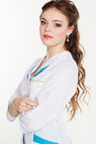 Doctor de sexo femenino bastante joven con el termómetro Fotos de archivo