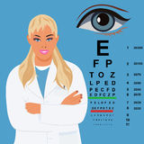 Doctor de sexo femenino con la carta de ojo, oftalmólogo, ejemplo del vector Imagen de archivo libre de regalías