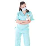 Doctor de sexo femenino del cirujano que sostiene el dinero Fotografía de archivo libre de regalías
