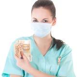 Doctor de sexo femenino del cirujano que sostiene el dinero Fotografía de archivo