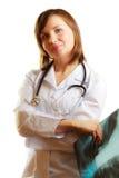Doctor de sexo femenino del radiólogo con imagen de la radiografía Fotos de archivo libres de regalías