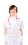 Doctor de sexo femenino joven, isoalted en blanco fotografía de archivo libre de regalías