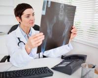 Doctor de sexo femenino joven que mira la radiografía Imagen de archivo libre de regalías