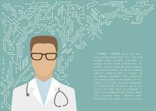Doctor de sexo masculino con un estetoscopio en las líneas impresas del microchip de la placa de circuito, vector Fotos de archivo