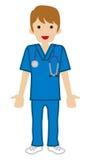 Doctor de sexo masculino joven - friega stock de ilustración