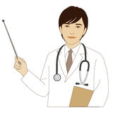 Doctor de sexo masculino que sostiene un palillo del indicador Fotos de archivo
