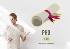 Doctor del doctorado del concepto de la graduación de la educación del grado de filosofía foto de archivo