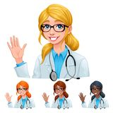 Doctor with different hair and skin colors royalty free illustration