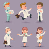 Doctor Different Positions and Actions Character Icons Set Medic Retro Cartoon Design Vector Illustration Royalty Free Stock Images