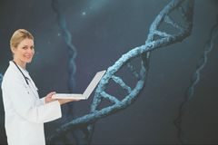 Doctor with DNA graphics on backgrounds Stock Photography